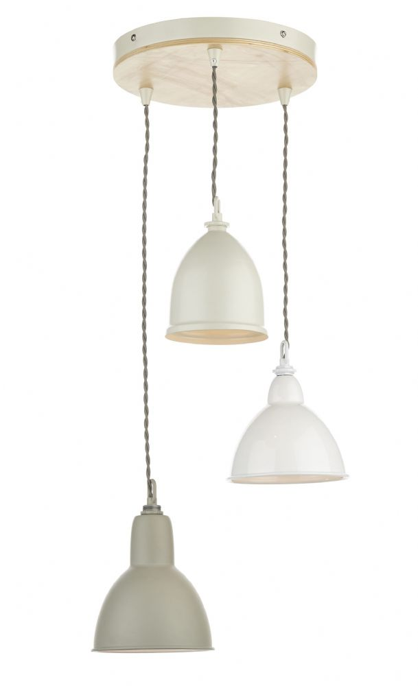 Blyton 3 Light Spiral Pendant complete with Painted Shds (Class 2 Double Insulated) BXBLY0343-17